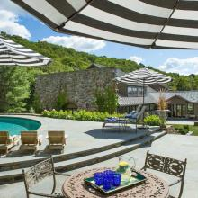 contemporary, pool, patio, kitchen, fireplace,