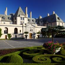 castle, ornate, pool, garden,