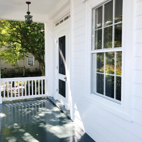suburban, white, light, airy, traditional, contemporary, porch,
