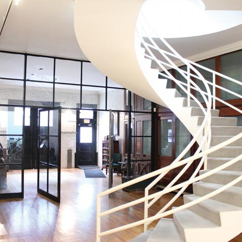 modern, white, glass, staircase, office, school, conference, kitchen,