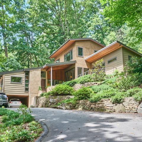suburban, contemporary, garden, stone, Asheville,