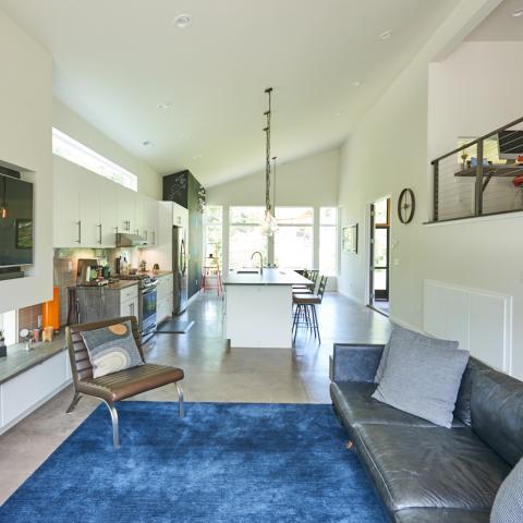 modern, contemporary, Asheville, fireplace, kitchen,