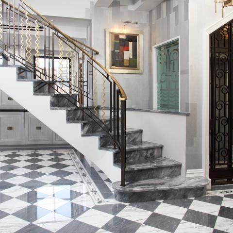 upscale, penthouse, terrace, art deco, ornate,
