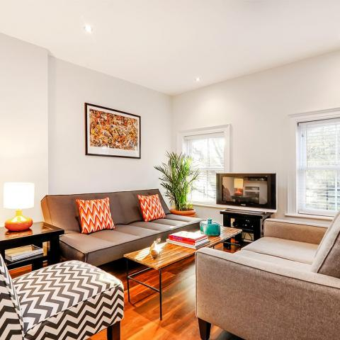 apartment, contemporary, white, kitchen, garden,