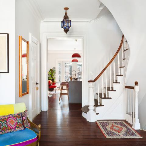 brownstone, townhouse, bohemian, eclectic, staircase, deck, kitchen,