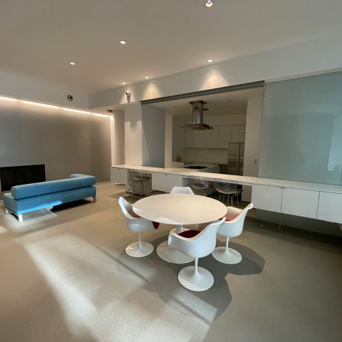 apartment, contemporary, modern, white, kitchen, fireplace,