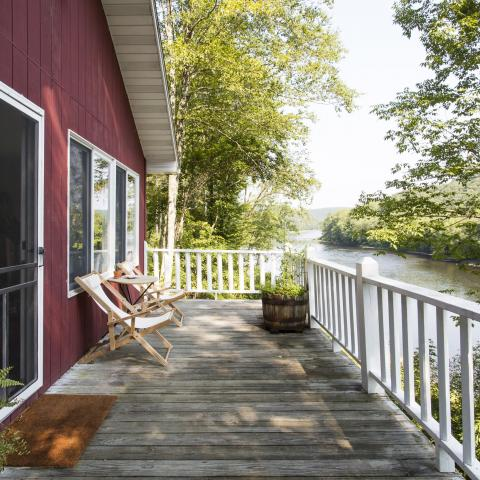 cabin, water, funky, wooded, wood, country, deck,