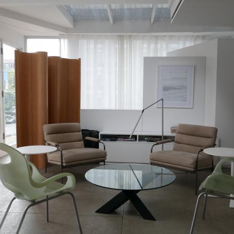 office, modern, white, light, city view,