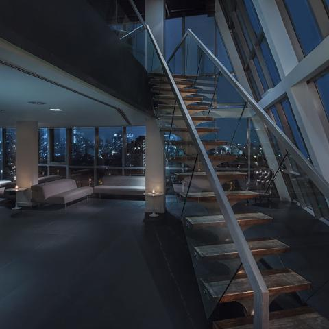 contemporary, upscale, glass, apartment, loft, staircase, rooftop, city view,