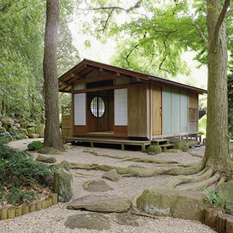 garden, zen, bridge, wooded,