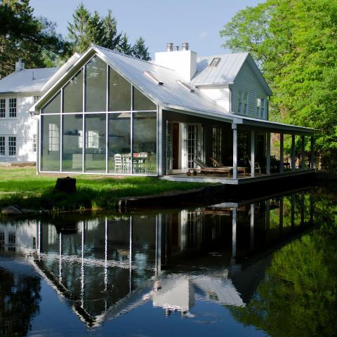 farmhouse, modern, contemporary, rural, glass, barn, water,