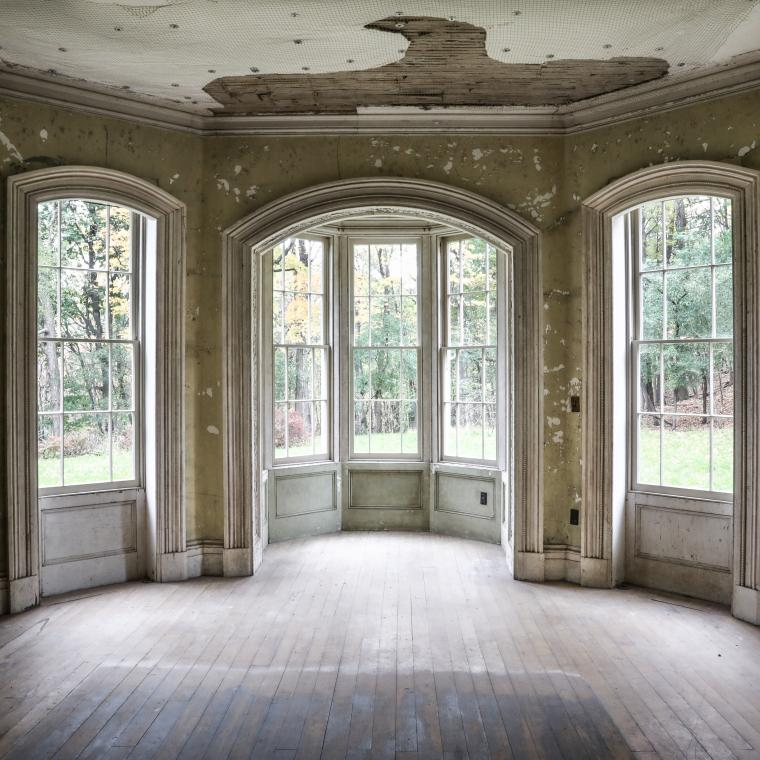 mansion, estate, distressed, empty room, staircase, porch,