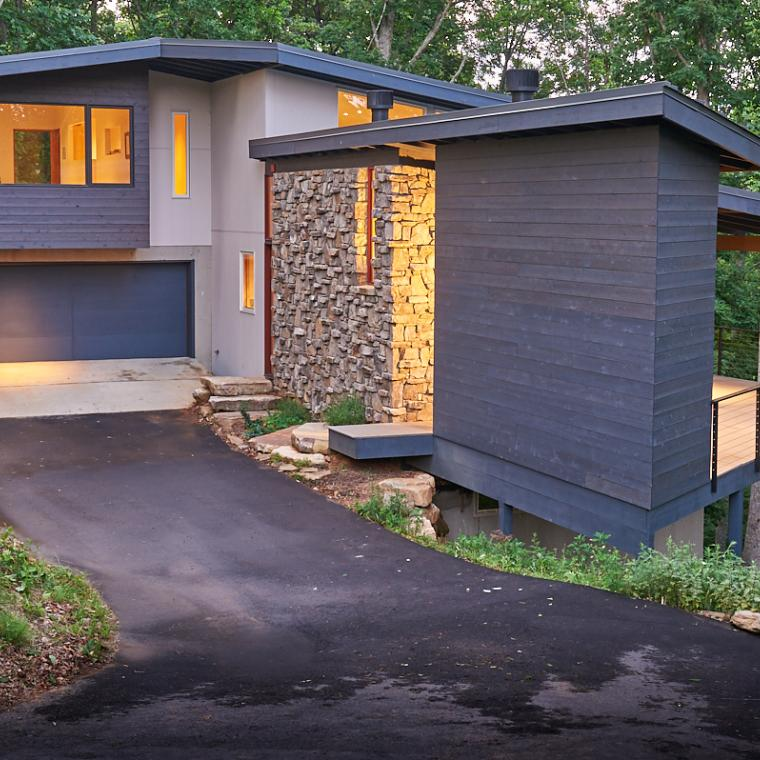 modern, contemporary, deck, fireplace, view,