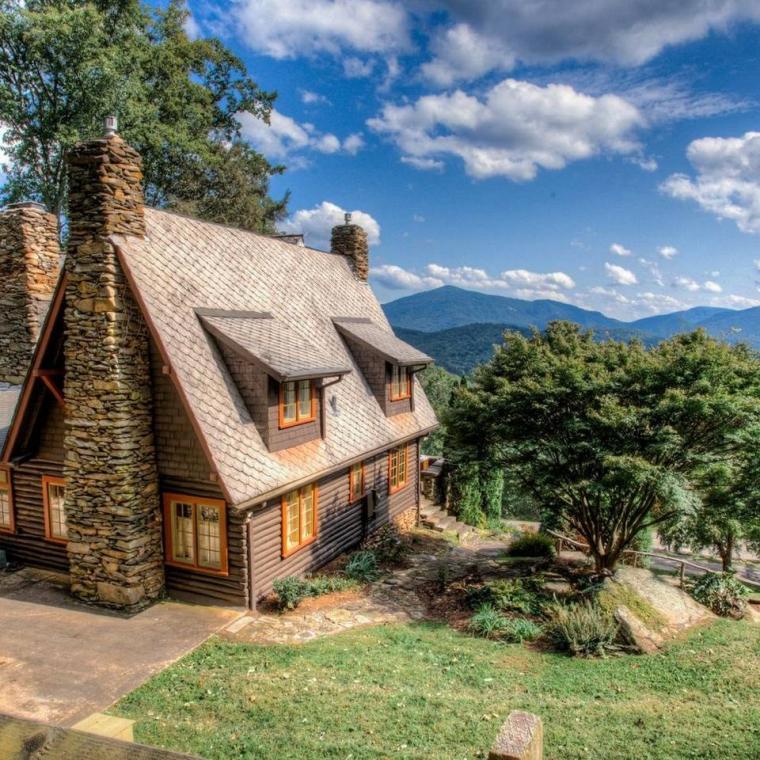 log house, cabin, stone, water, rural, Asheville,