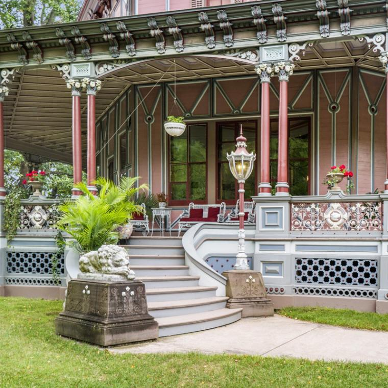 opulent, grand, mansion, victorian, garden, greenhouse, staircase, porch,