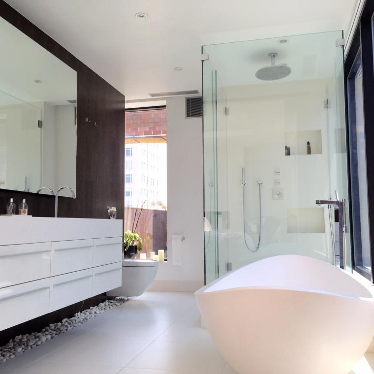 apartment, modern, contemporary, bathroom, deck,