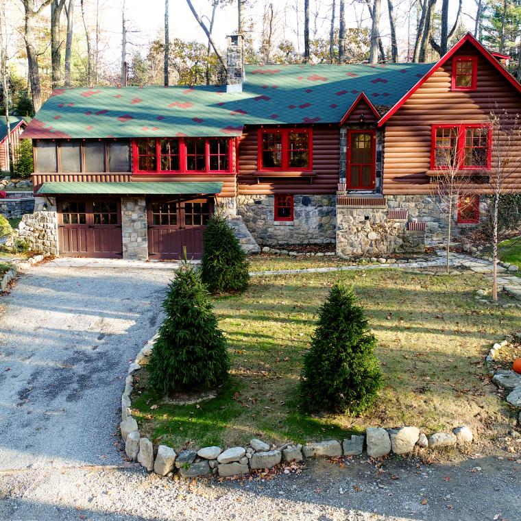 cabin, log house, lake, water,