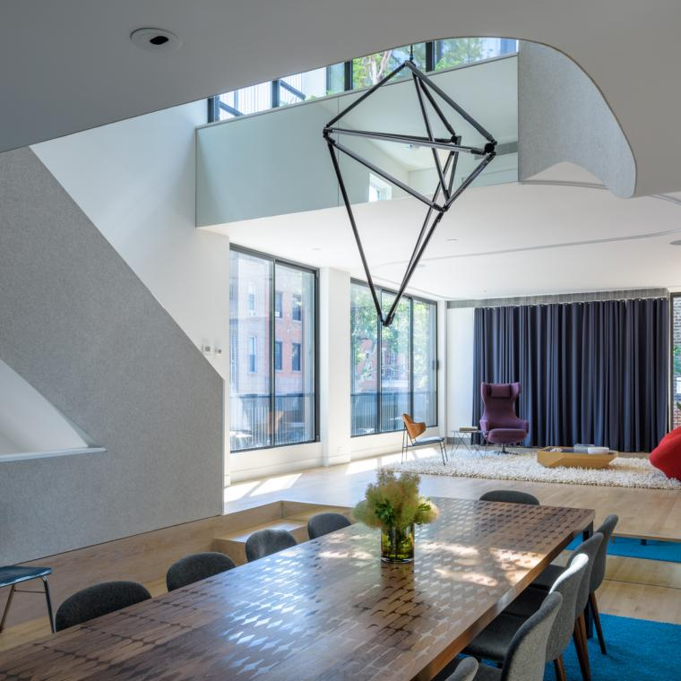 townhouse, modern, glass, light, rooftop, staircase, white,
