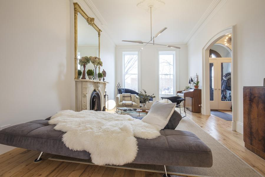 brownstone, contemporary, light, white, fireplace, kitchen, deck,