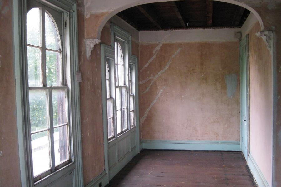 mansion, colorful, distressed, bohemian, funky, empty room,