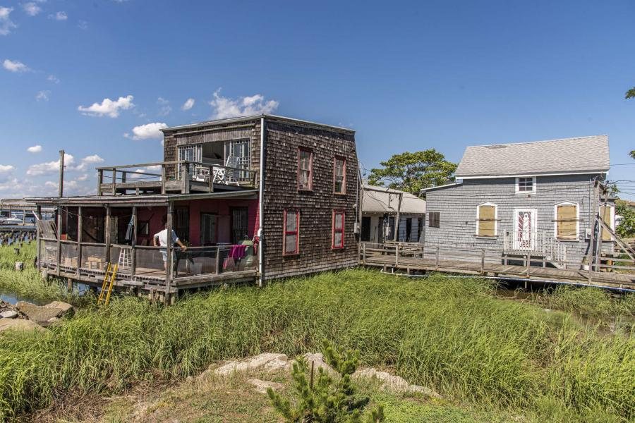 distressed, funky, bohemian, deck, water, beach, dock, colorful,