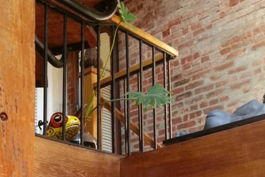 townhouse, loft, kitchen, fireplace, garden, staircase,