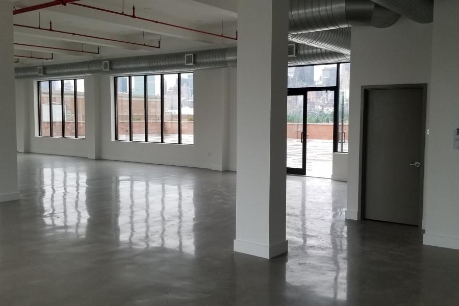 terrace, city view, rooftop, view, empty room,