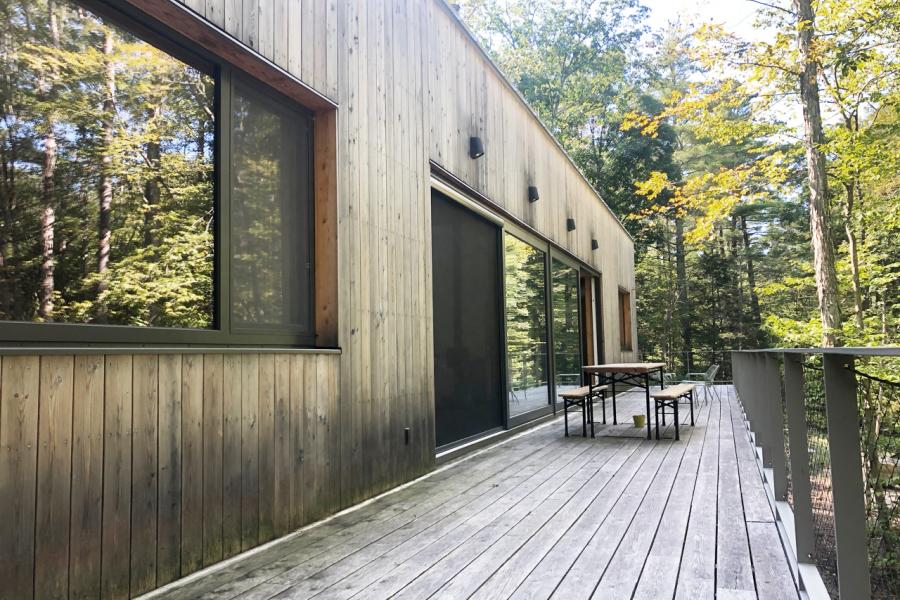 modern, contemporary, wooded, wood, deck, glass, rural,