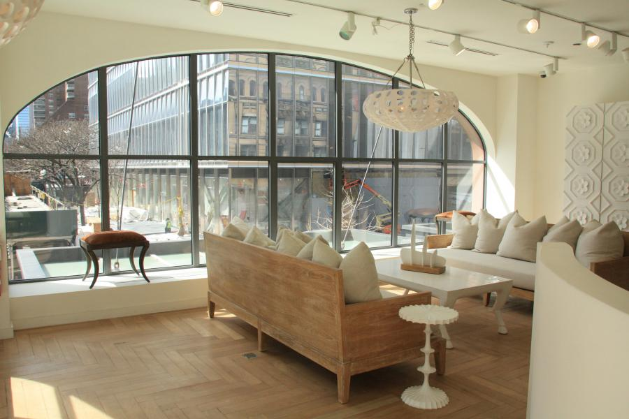 loft, apartment, white, light, city view, bedroom, staircase,