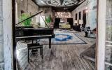 loft, bohemian, funky, textured walls, wood, piano,
