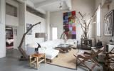 loft, apartment, eclectic, white, textured walls,